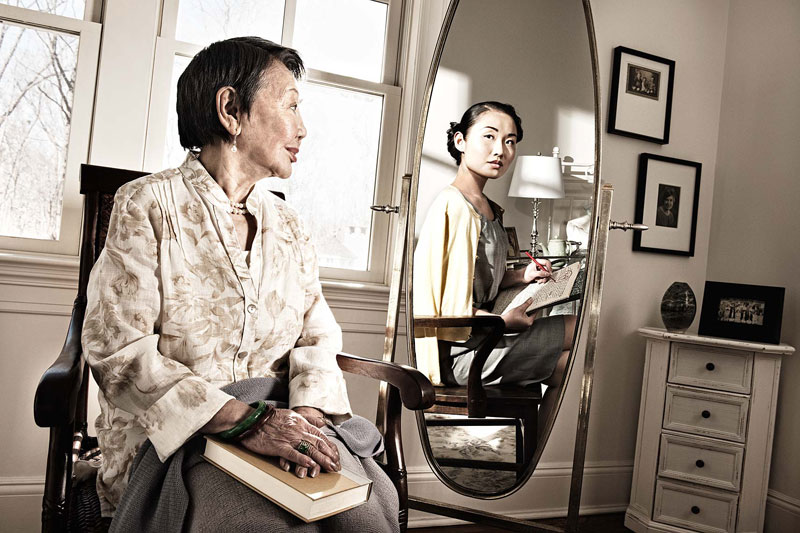 mirror reflection. portraits of people seeing their younger self in a mirror twistedsifter reflection t