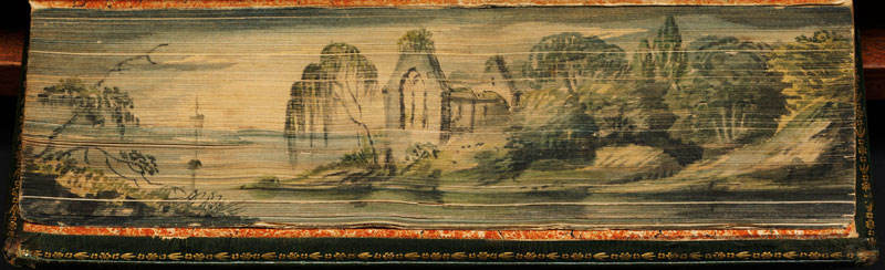 church ruins by lakefront fore edge book painting 40 Hidden Artworks Painted on the Edges of Books