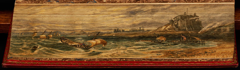 lindesfarne abbey fore edge book painting 40 Hidden Artworks Painted on the Edges of Books