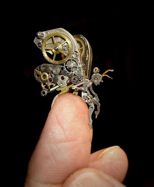 sculptures made from old watch parts sue beatrice 11 Artist Turns Discarded Keys and Coins Into Works of Art