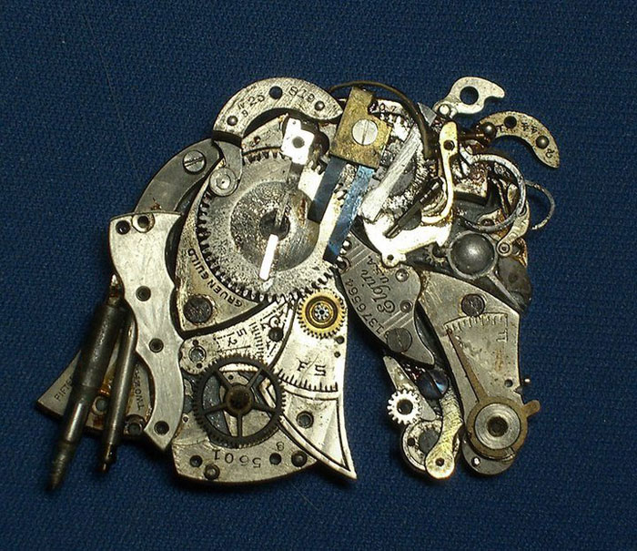 sculptures made from old watch parts sue beatrice (2)
