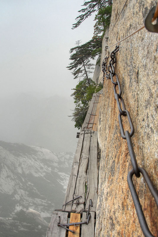 south peak cliffside plank path hua shan china 4 Ice Climbing the Glaciers at the Top of Kilimanjaro