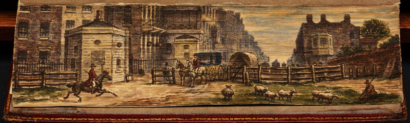 street scene at tyburn fore edge book painting 40 Hidden Artworks Painted on the Edges of Books
