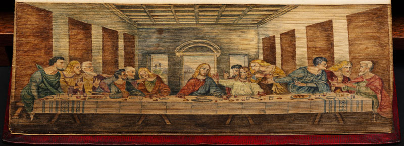 the last supper fore edge book painting 40 Hidden Artworks Painted on the Edges of Books