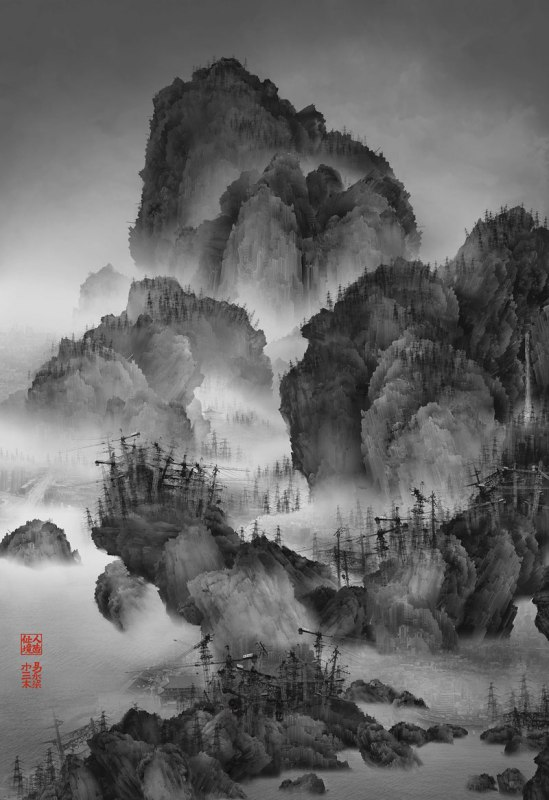 Traditional Chinese Landscape Paintings And Modernized Cities Yang Yongliang 4 Photos Made To Look Like