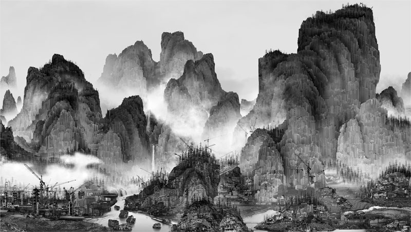 traditional chinese landscape paintings and modernized chinese cities yang yongliang (5)
