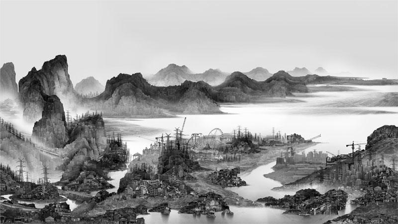 traditional chinese landscape paintings and modernized chinese cities yang yongliang (6)