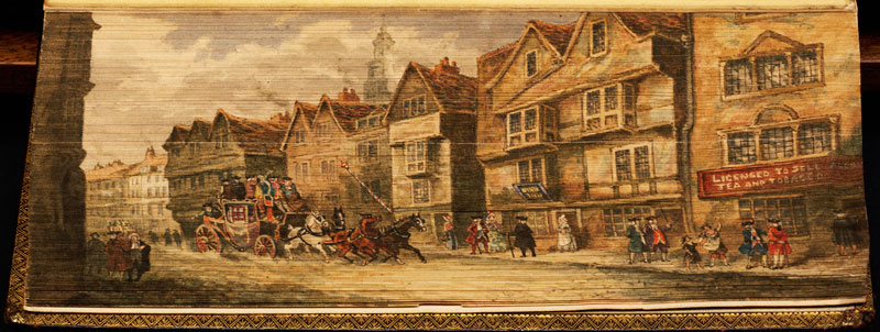 view of carriages fore edge book painting 40 Hidden Artworks Painted on the Edges of Books