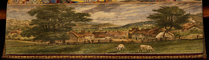 wimborne minster fore edge book painting 40 Hidden Artworks Painted on the Edges of Books