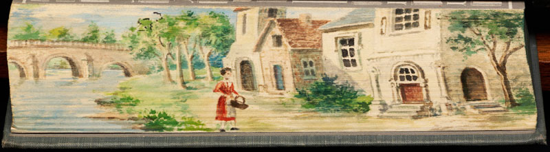 woman and house fore edge book painting 40 Hidden Artworks Painted on the Edges of Books