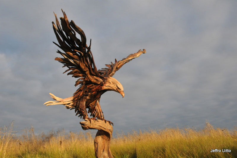 driftwood sculptures by jeffro uitto knock on wood 10 The Incredible Scrap Metal Animal Sculptures of John Lopez