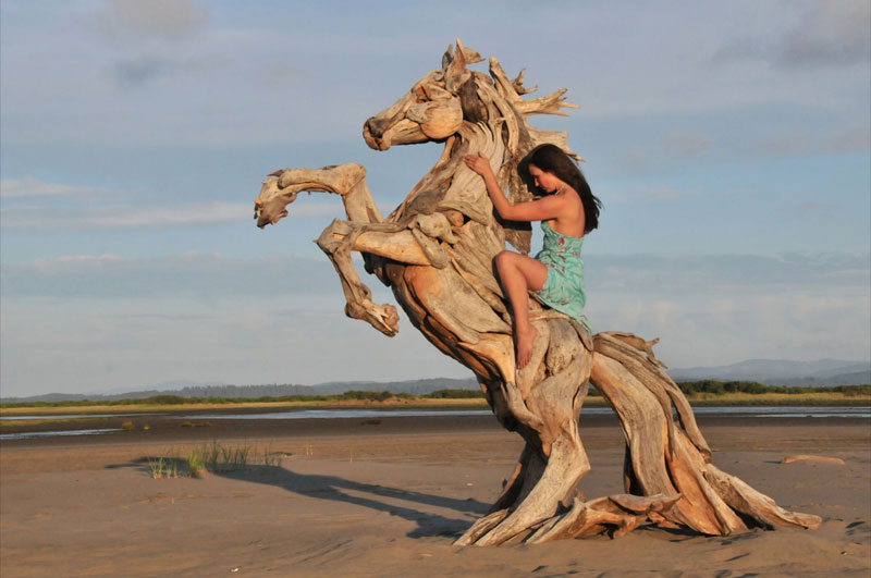 driftwood sculptures by jeffro uitto knock on wood 11 A Steampunk Pegasus Made from Scrap Metal
