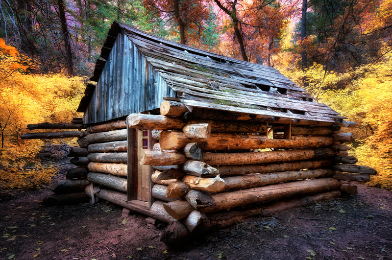 Picture of the day fife cabin zion national park for Log cabins in utah