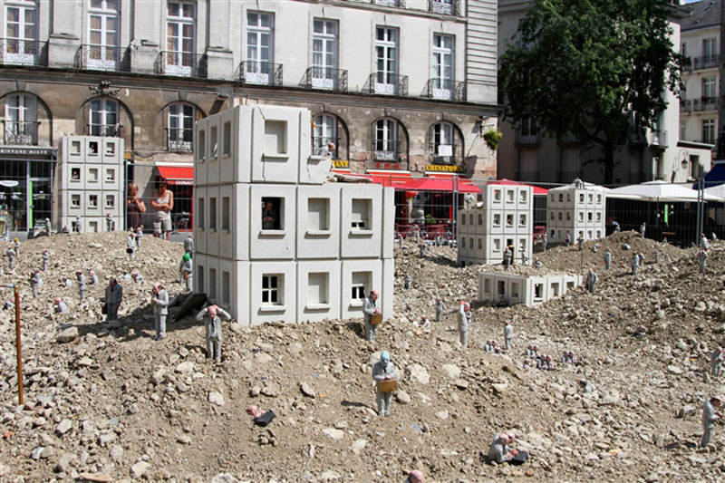 Isaac Cordal's Miniature City in Ruins Installation in Nantes,France