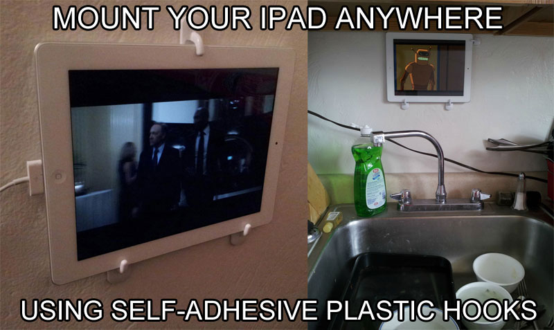 ipad mount using plastic hooks 40 Clever Life Hacks to Simplify your World