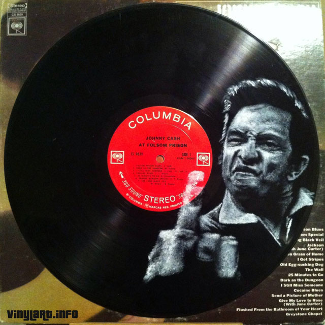 johnny cash vinyl art by daneil edlen 25 Musicians Painted Directly onto Vinyl Records