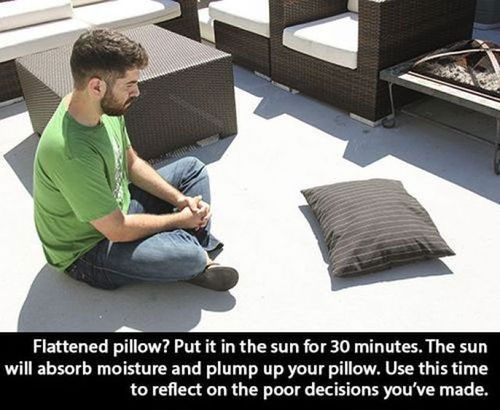 pillow in sun life hack 40 Clever Life Hacks to Simplify your World
