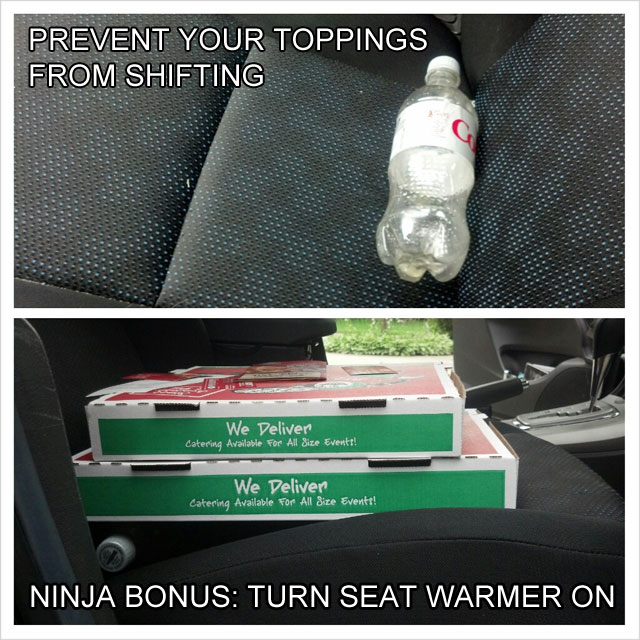 prevent pizza toppings from shifting while driving life hack 40 Clever Life Hacks to Simplify your World