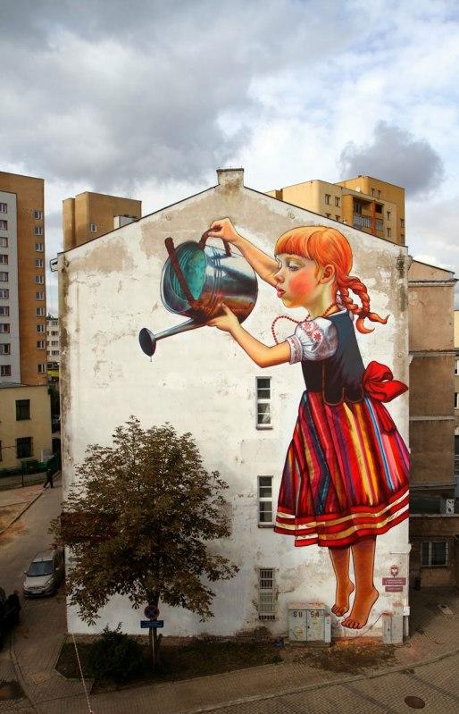 street art by natalia rak poland 5 Samuel Gomez Draws a 90 Square Foot Masterpiece