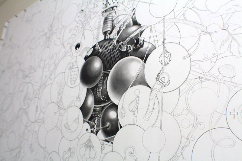 triptych drawing graphite and ink by samuel gomez deadpan comedy art prize 2013 (9)
