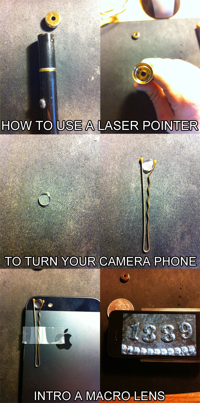 use laser pointer to turn phone into macro camera life hack 40 Clever Life Hacks to Simplify your World