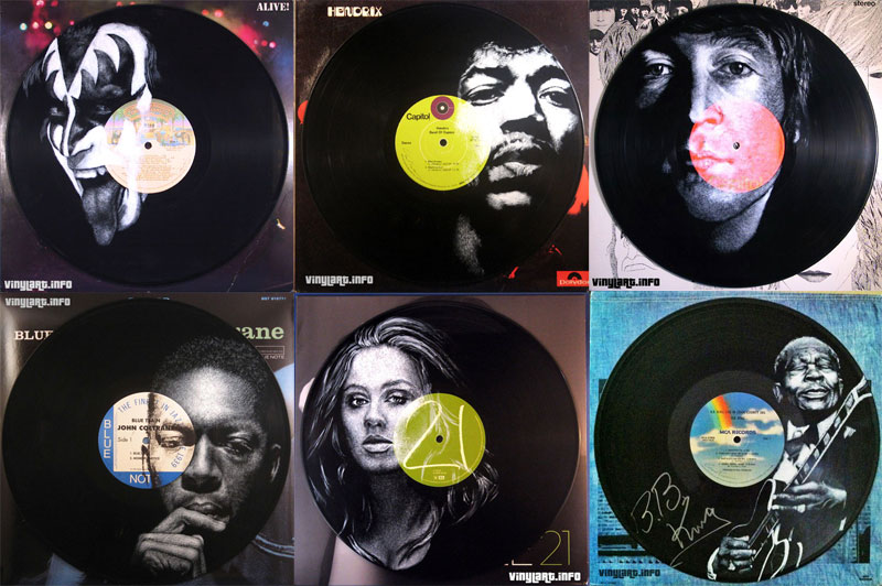 25 Musicians Painted Directly onto VinylRecords