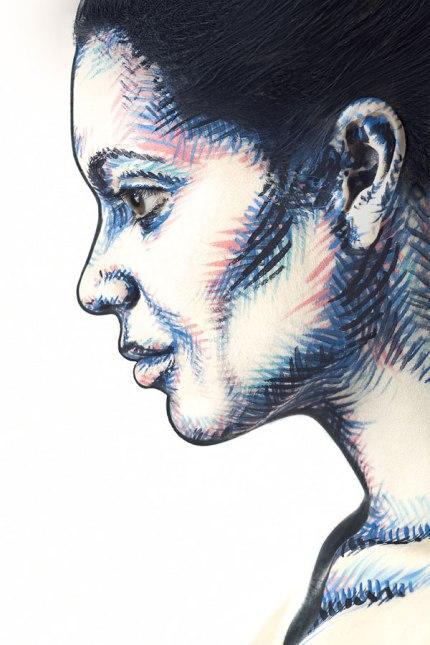 2D Portraits Painted Onto Human Faces (1)