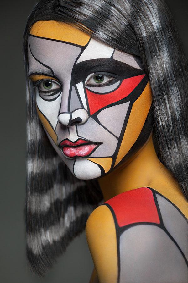 2D Portraits Painted Onto Human Faces (2)