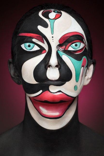 2D Portraits Painted Onto Human Faces (3)