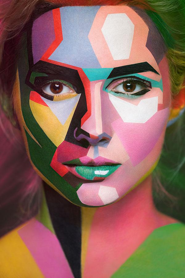 2D Portraits Painted Onto Human Faces (5)