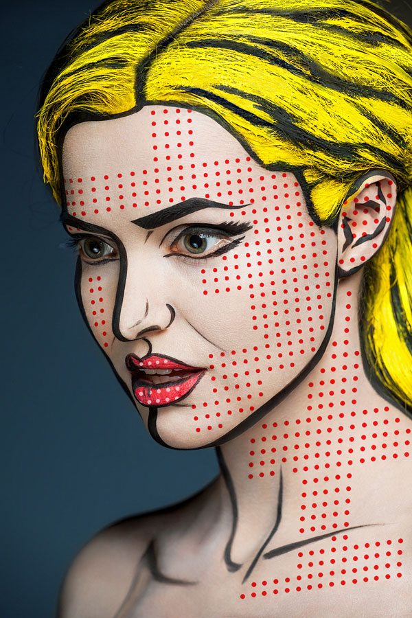 2d portraits painted onto human faces 8 This Artist Does Freehand Tattoos. No Sketches, No Stencils
