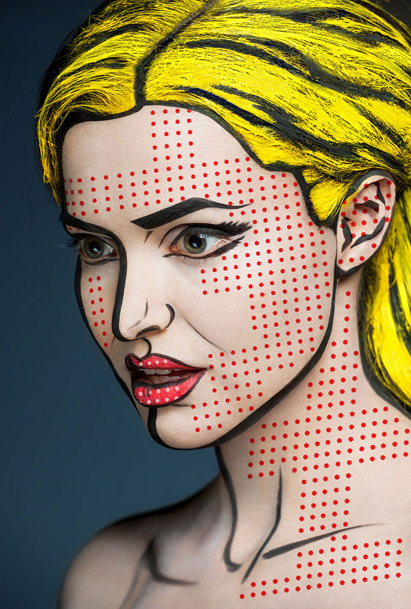 2D Portraits Painted Onto Human Faces