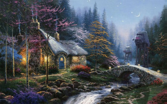adding star wars figures to thomas kinkade paintings jeff bennett alien artisan (1)