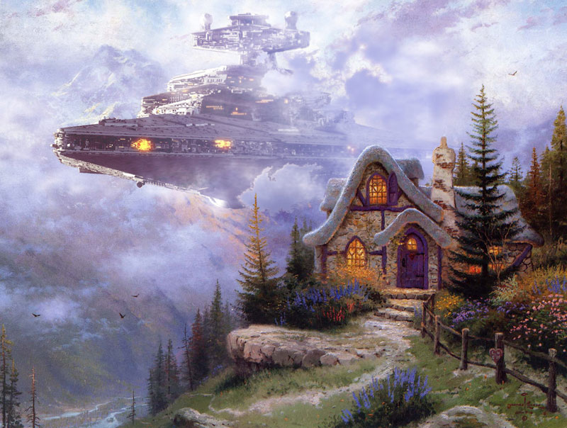 adding star wars figures to thomas kinkade paintings jeff bennett alien artisan (2)