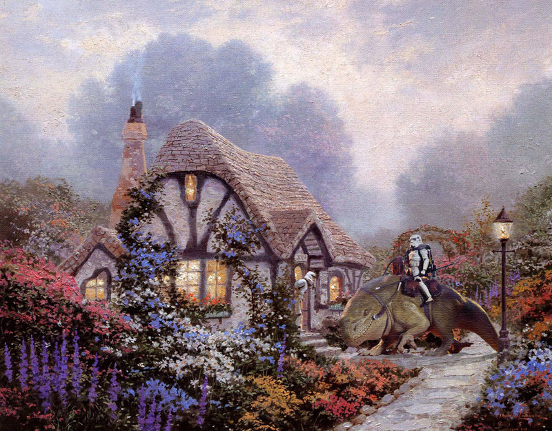 adding star wars figures to thomas kinkade paintings jeff bennett alien artisan (4)