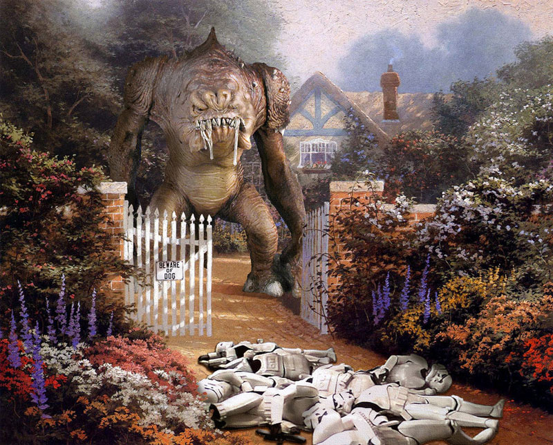 adding star wars figures to thomas kinkade paintings jeff bennett alien artisan (5)