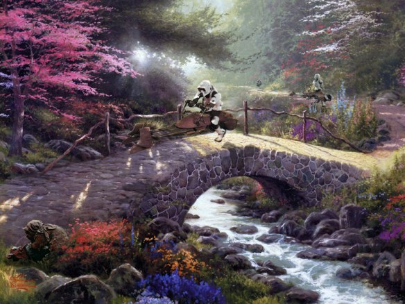 adding star wars figures to thomas kinkade paintings jeff bennett alien artisan (6)
