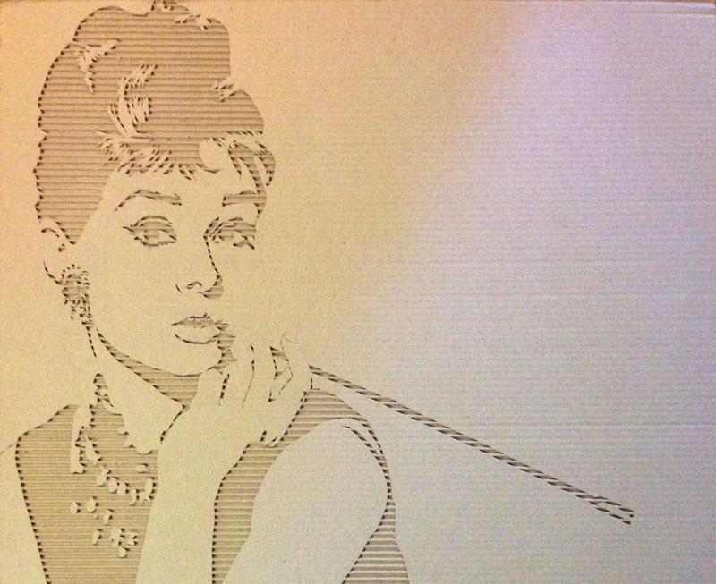 Celebrity Portraits Carved into CorrugatedCardboard