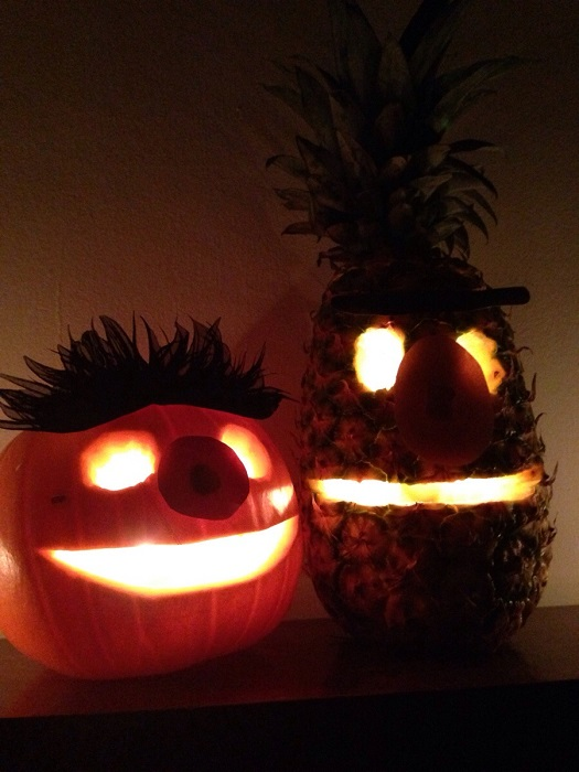 bert and ernie pumpkin pineapple halloween