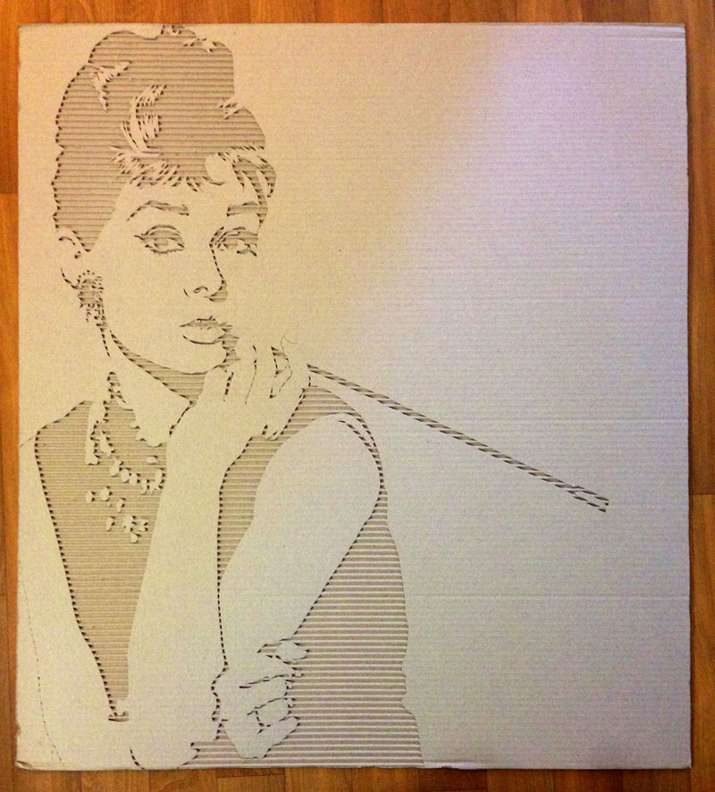 Celebrity Portraits Carved into Corrugated Cardboard Audrey-Hepburn