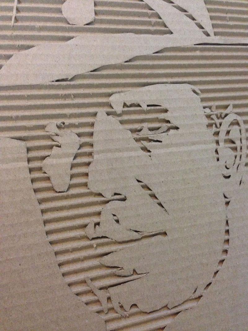 Celebrity Portraits Carved into Corrugated Cardboard-Humphrey-Bogart