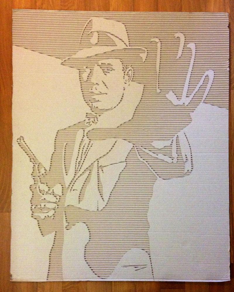 Celebrity Portraits Carved into Corrugated Cardboard Humphrey-Bogart