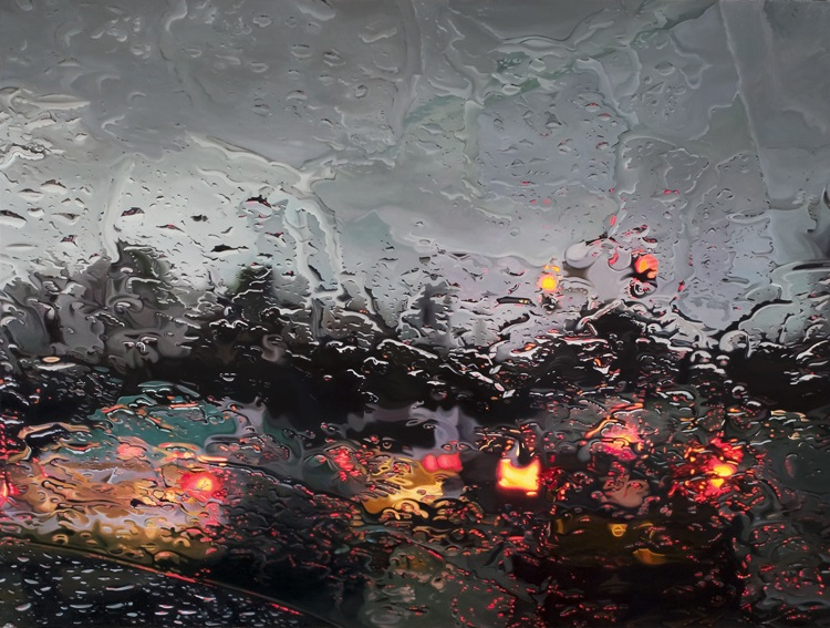 completestop by gregory thielker oil painting through car windshield Hyperrealistic Artworks Surrounded by the Supplies Used to Create Them