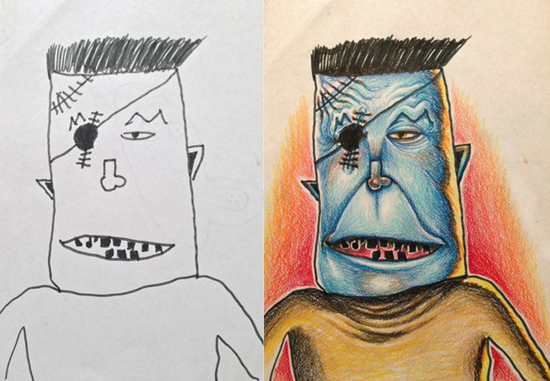 dad colors in his kids drawings 3 - Kids Drawings