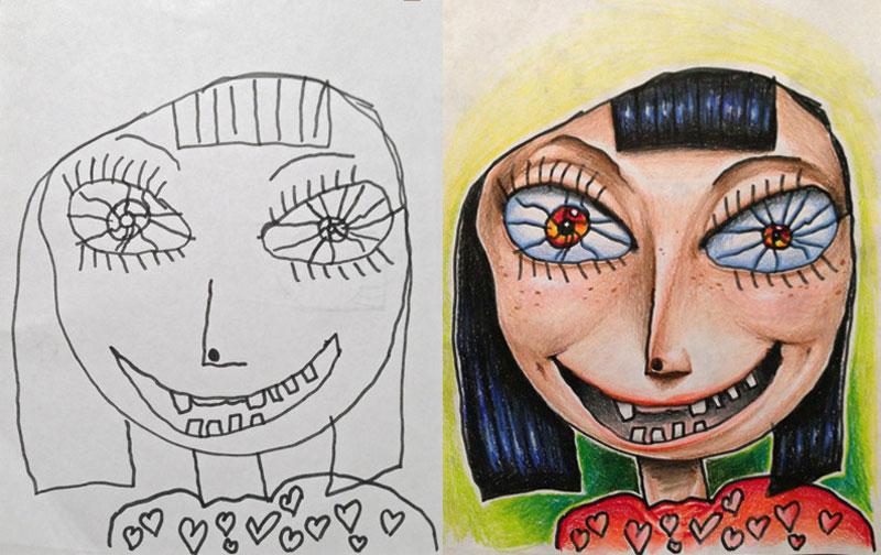 dad colors in his kids drawings (4)