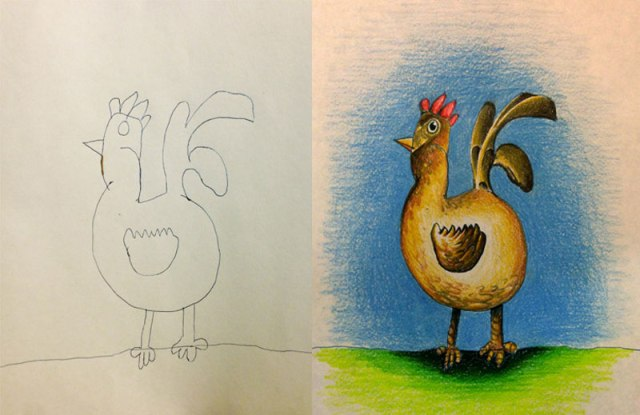 These Kids Let Their Dad Color their Drawings. This was the Result