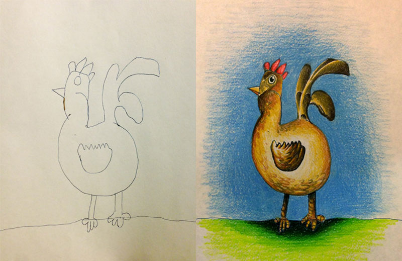 dad colors in his kids drawings 7 Artist Turns Her 2 Year Olds Sketches Into Watercolor Paintings