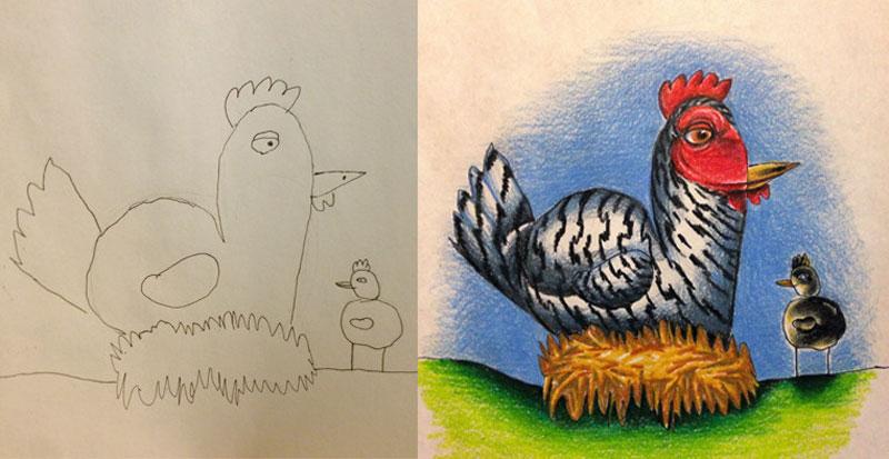 dad colors in his kids drawings (8)