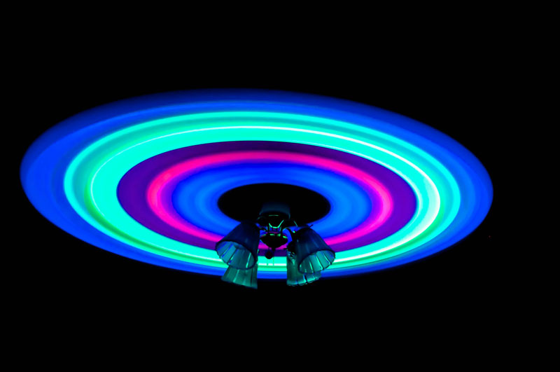 glowsticks and a ceiling fan long exposure photograph Picture of the Day: Glow Sticks and a Ceiling Fan