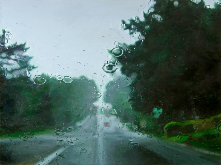 LowRoad  by Gregory Thielker oil painting through car windshield